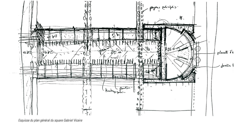Bords de Vilaine - Plan à la main du square Gabriel Vicaire © Alexandre Chemetoff
