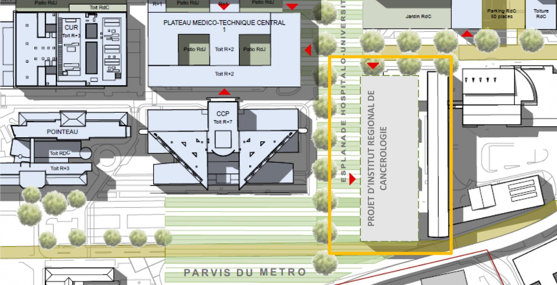CHU - Institut Régional de Cancérologie © Agence Emmanuelle Colboc & Associés