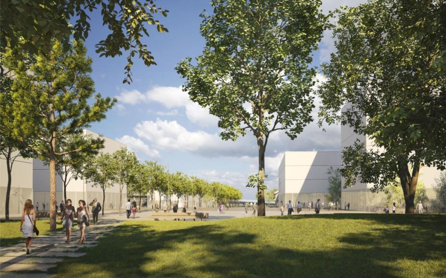 CHU - Vue de l'esplanade Hospitalo-universitaire coté université © Agence Emmanuelle Colboc & Associés