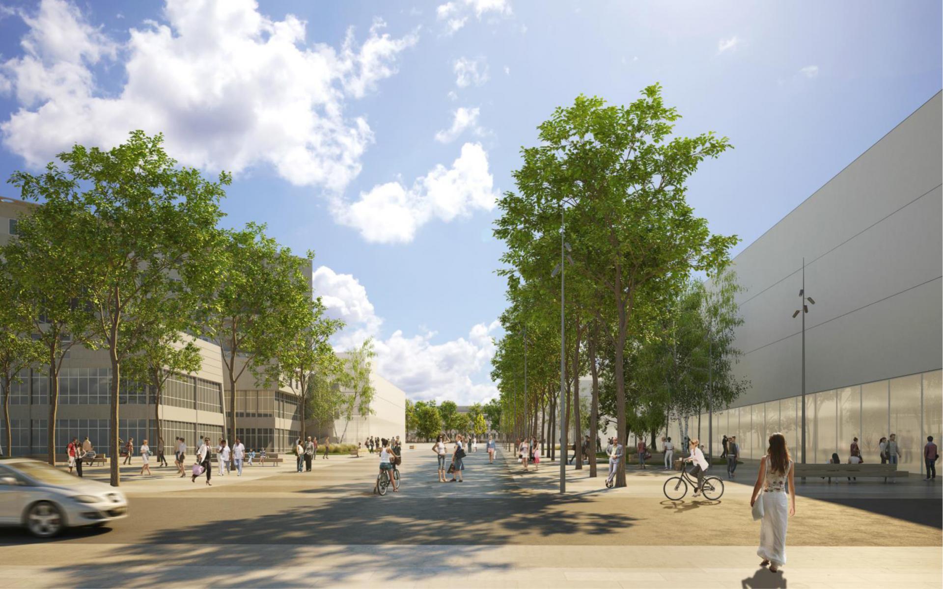 CHU - Vue de l'esplanade Hospitalo-universitaire vers l'université © Agence Emmanuelle Colboc & Associés