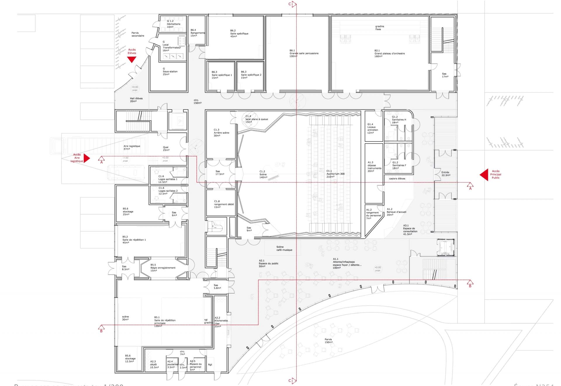 Conservatoire - Plan 1 ©Tetrarc
