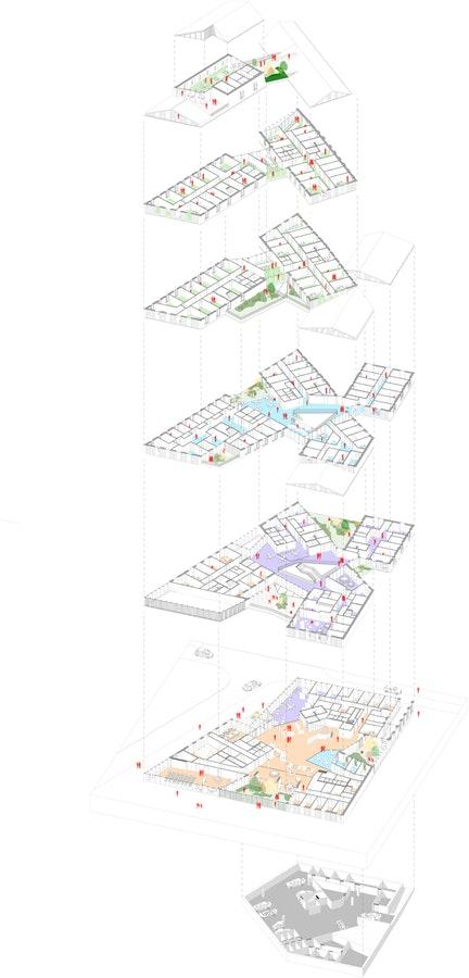 Espace Social Commun - Axonométrie © Beal & Blanckaert