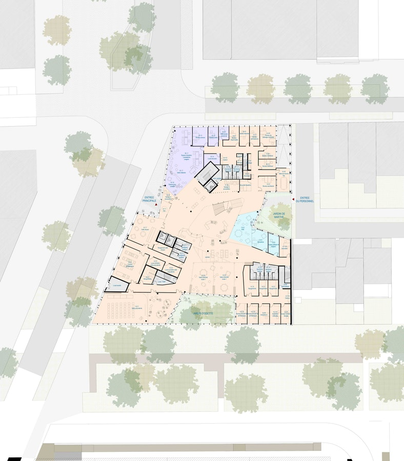 Espace Social Commun - Plan du rez-de-chaussée © Beal & Blanckaert
