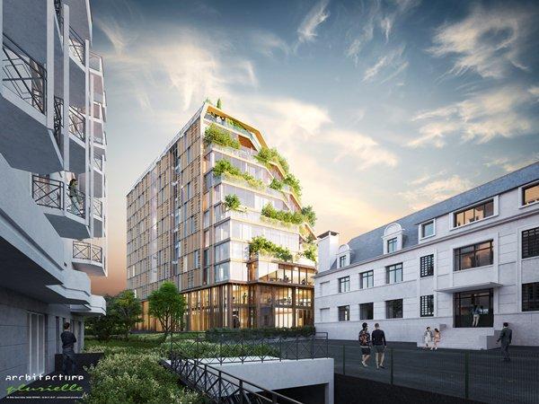 Horizon Bois - Vue de la Rue Monseigneur Duchesne © Architecture Plurielle
