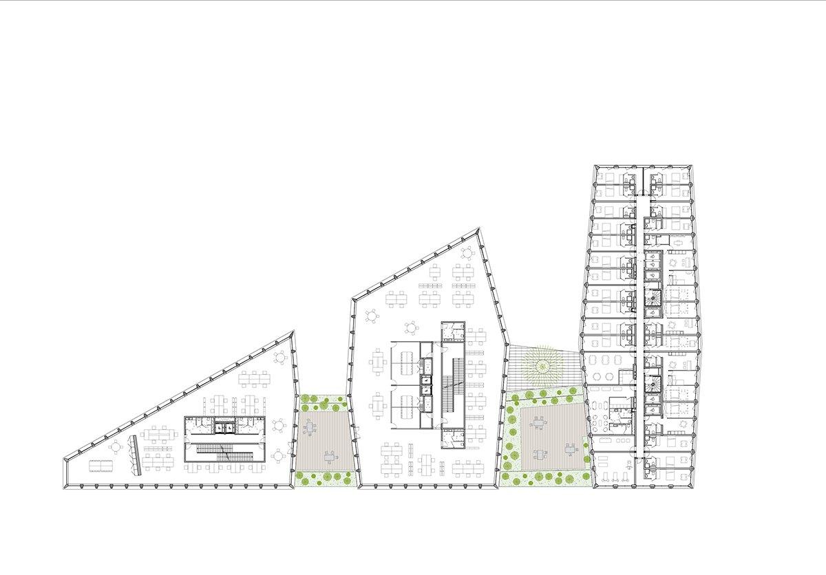 Îlot Beaumont - Plan d'un étage courant © Kempe Thill, Atelier 56S, Dots paysagistes