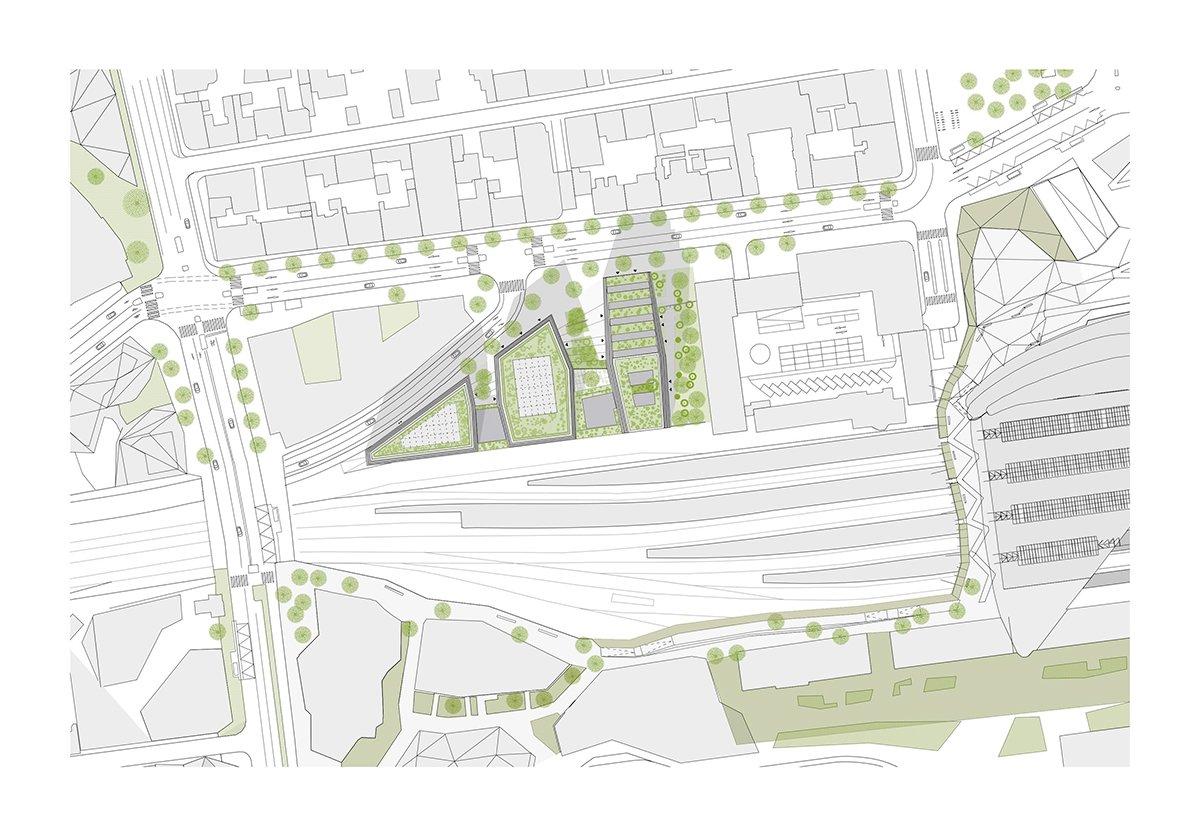 Îlot Beaumont - Plan de masse © Kempe Thill, Atelier 56S, Dots paysagistes