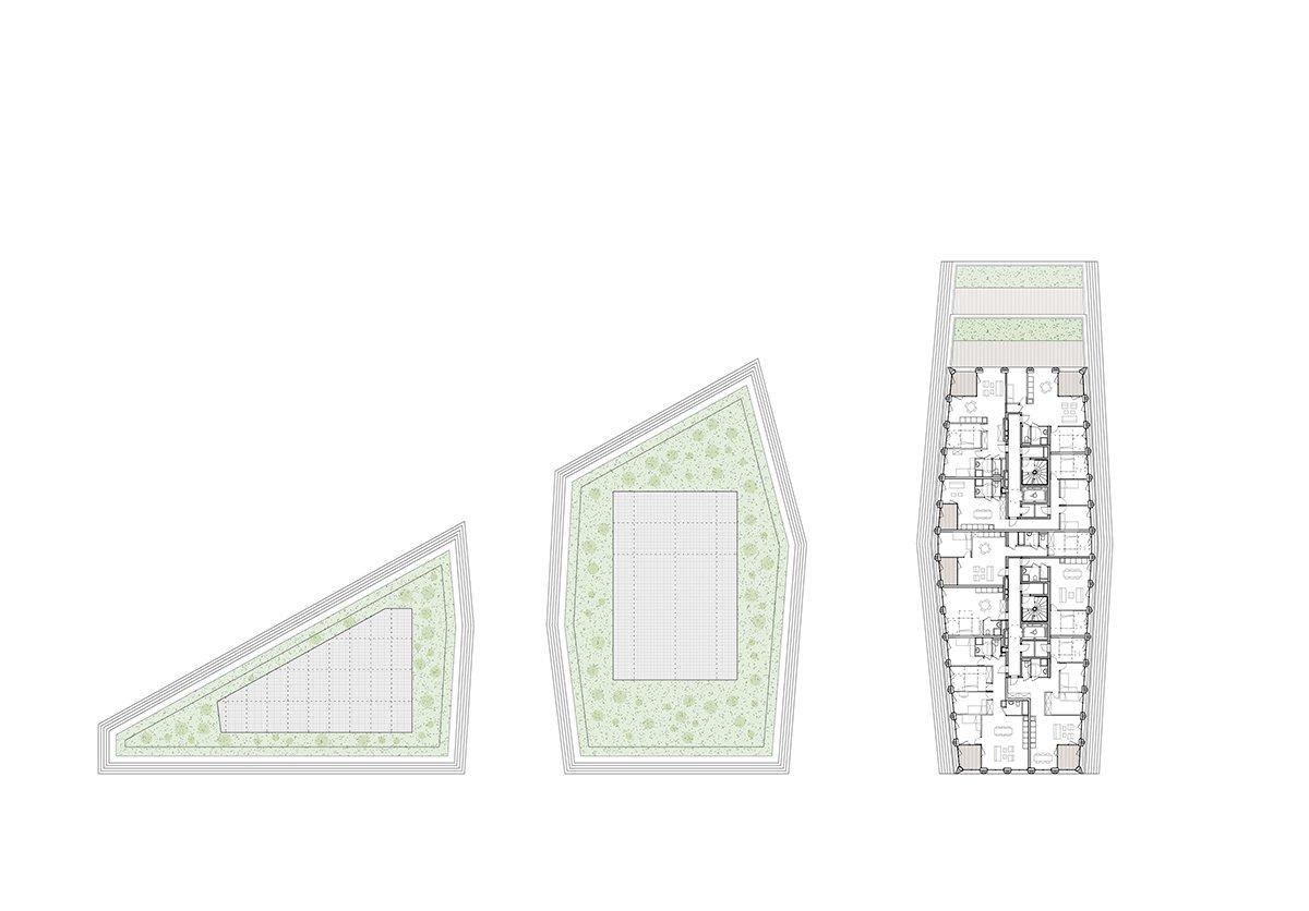 Îlot Beaumont - Plan du 12ème étage © Kempe Thill, Atelier 56S, Dots paysagistes