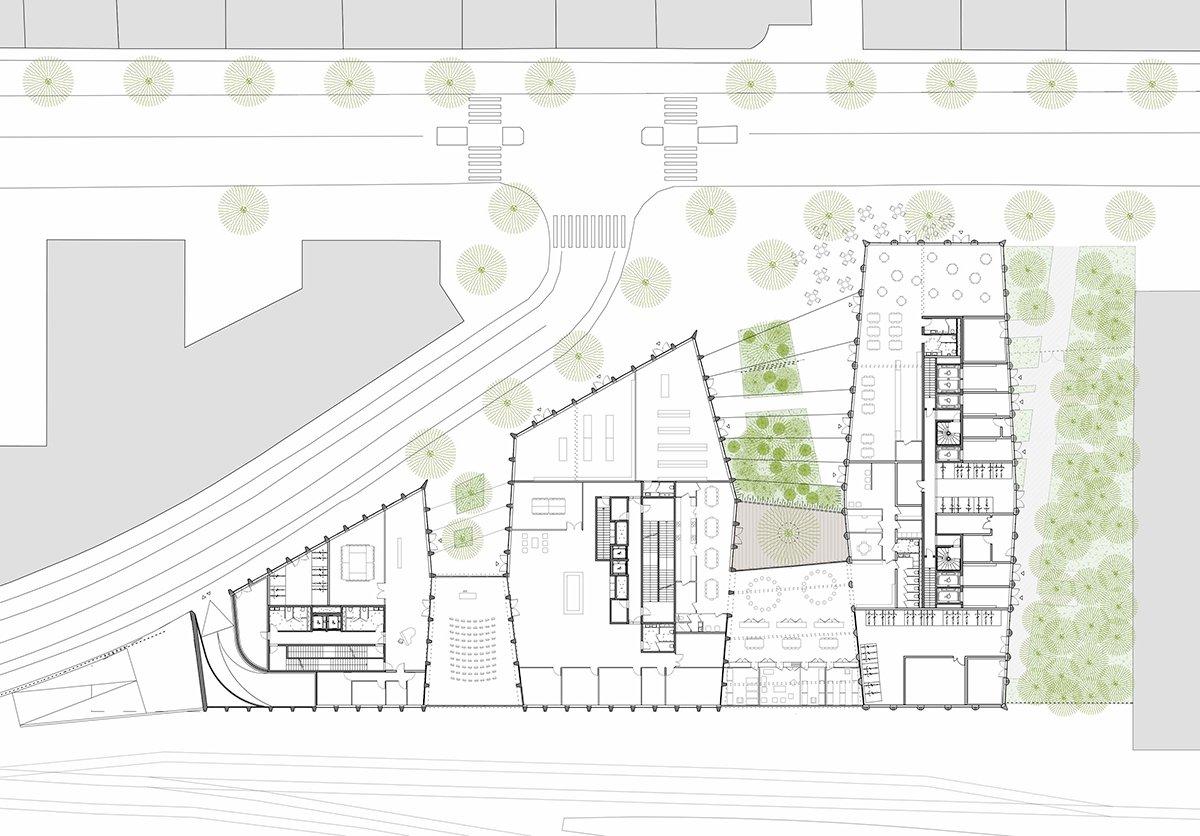 Îlot Beaumont - Plan du RdC © Kempe Thill, Atelier 56S, Dots paysagistes
