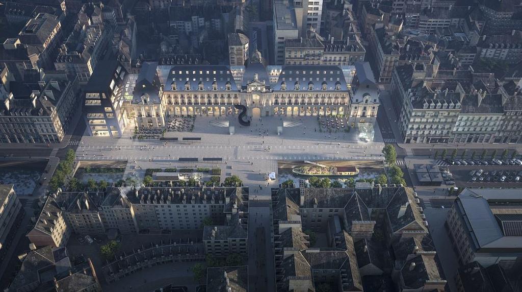 Palais du commerce - Vue aérienne © MVRDV + Desmoulin