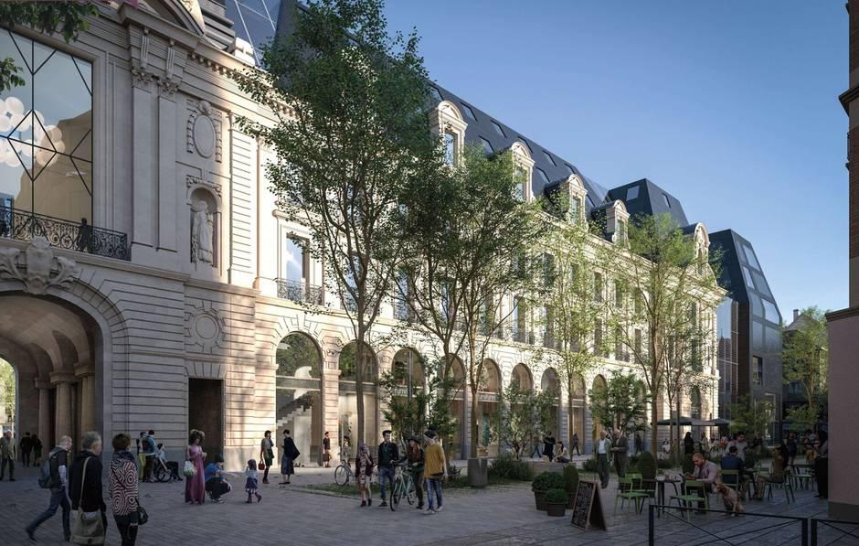 Palais du commerce - Vue depuis la Rue du Pré-Botté © MVRDV + Desmoulin
