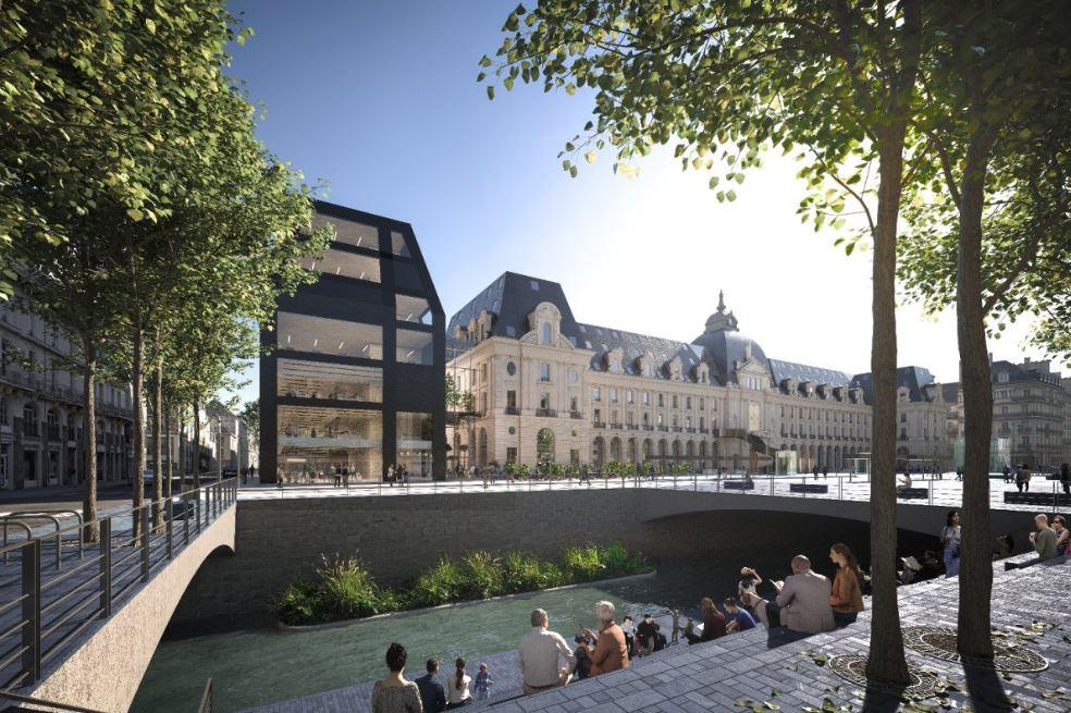 Palais du commerce - Vue du Quai Lamartine © MVRDV + Desmoulin