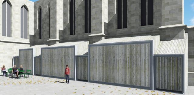 Place Sainte-Anne - Kisoques entre les contreforts de l'église © Ilex