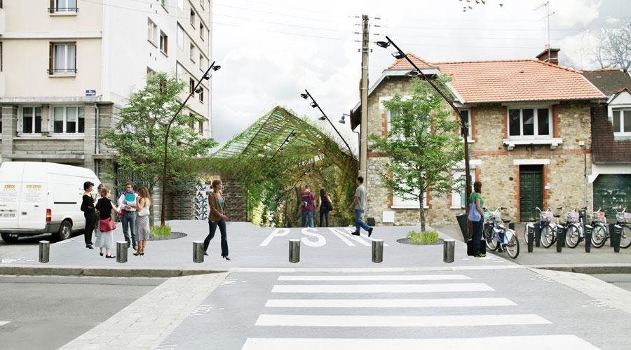 Prairies Saint-Martin - Depuis la Rue d'Antrain © Base