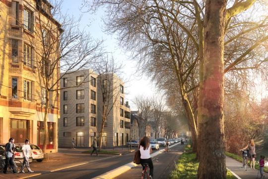Résidence Chézy - Vue du Boulevard de Chézy © Ludovic Alexandre Architecte