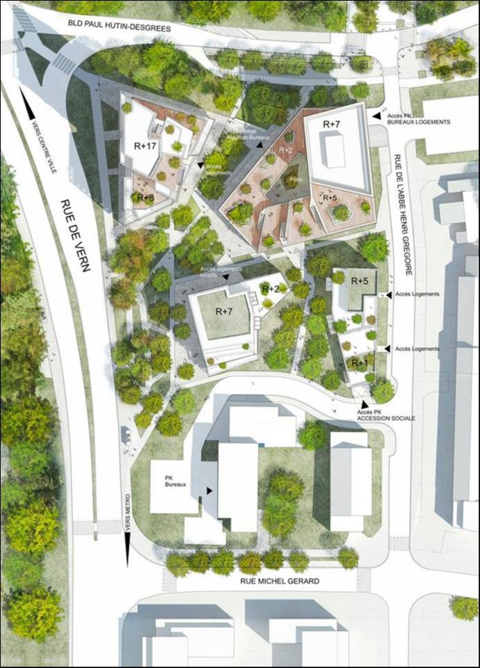 171 Rue de Vern - Plan de masse © Brenac & Gonzalez - Line Up