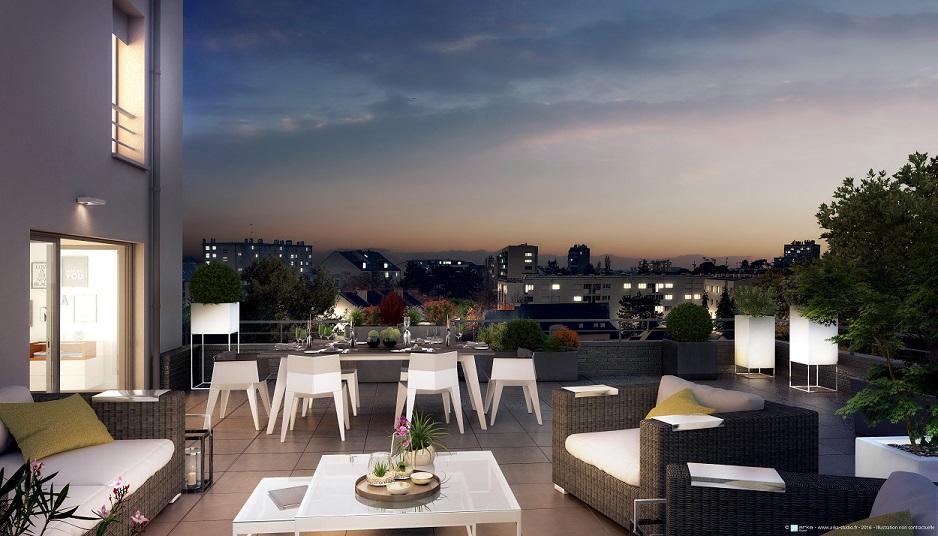 Urban Park - Vue depuis une terrasse © WRA