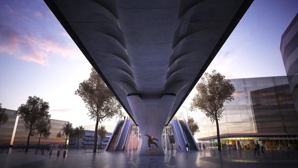 Cesson-Viasilva - Vue sous le viaduc