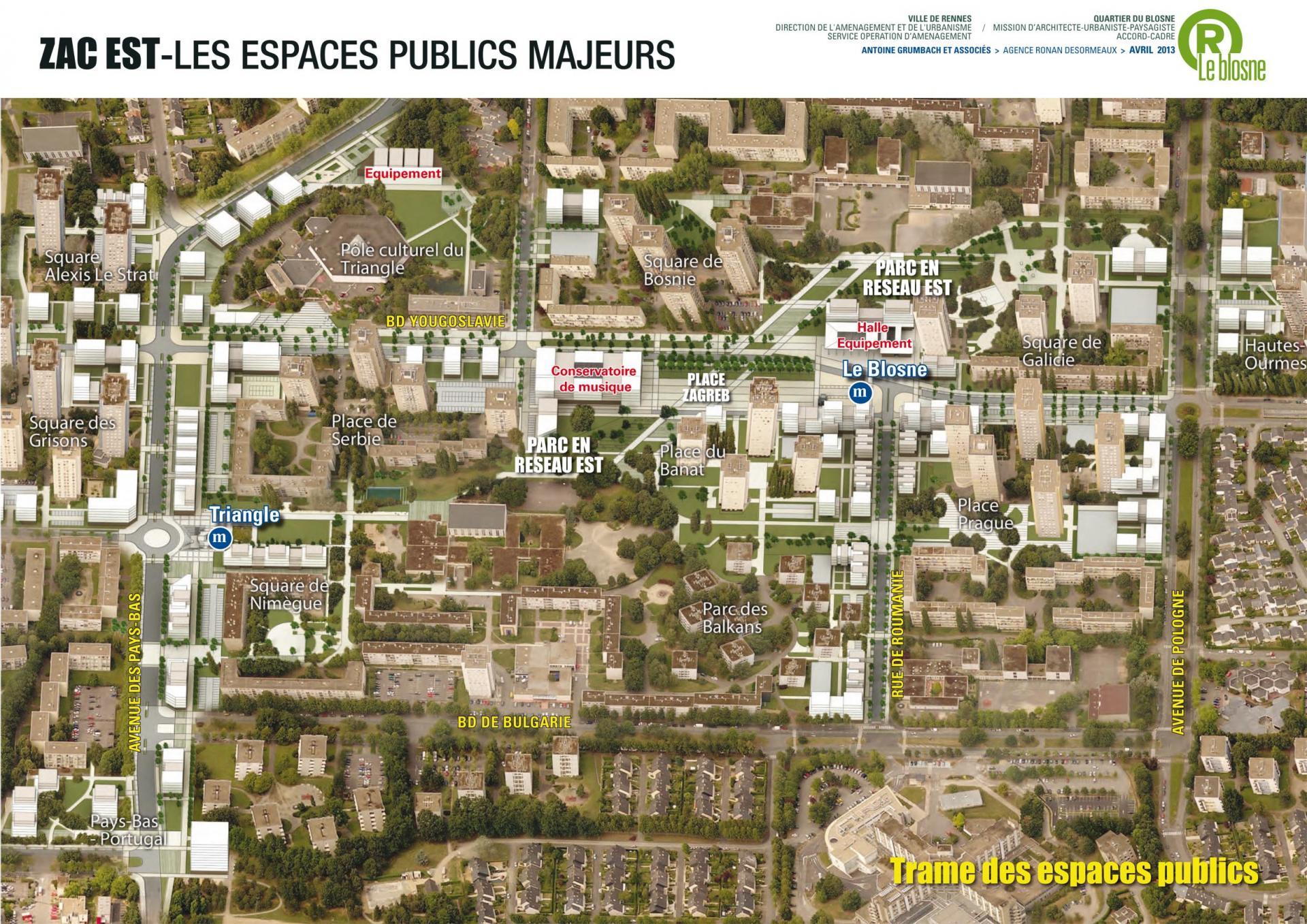 ZAC Blosne-Est - Espaces publics majeurs © Antoine Grumbach