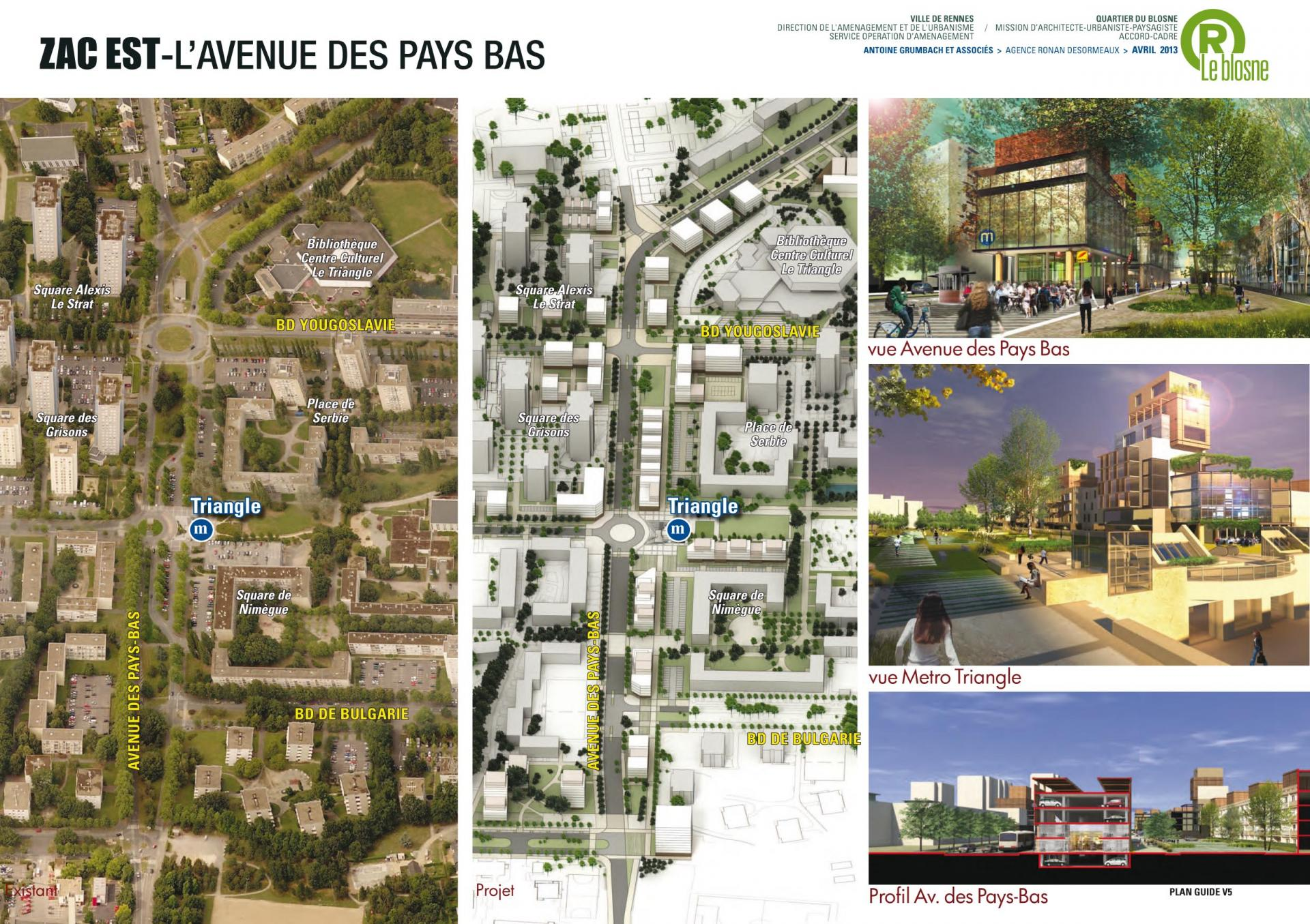 ZAC Blosne-Est - L'Avenue des Pays-Bas © Antoine Grumbach