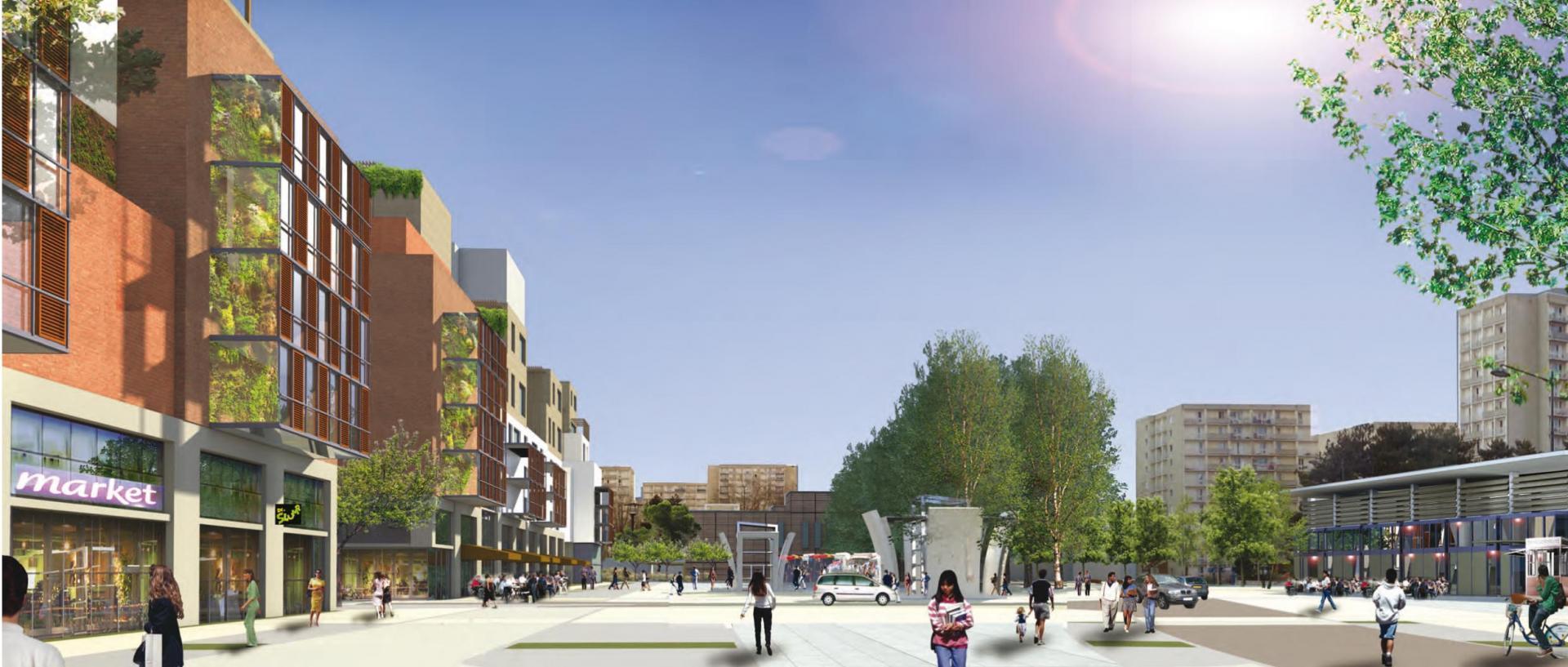 ZAC Blosne-Est - Place Zagreb nouvelle centralité © Antoine Grumbach