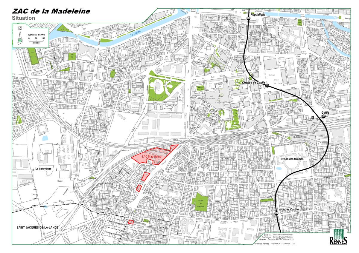 ZAC MAdeleine - Situation © Ville de Rennes