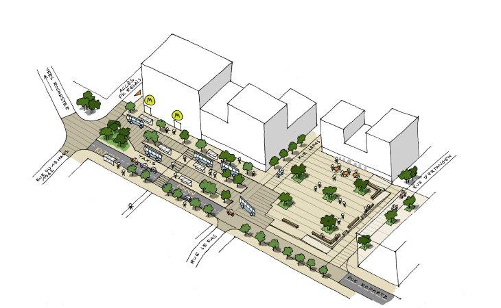ZAC Maurepas-Gayeulles - Amenagement Place du marché et Pôle d'échange multimodal © Atelier Ruelle